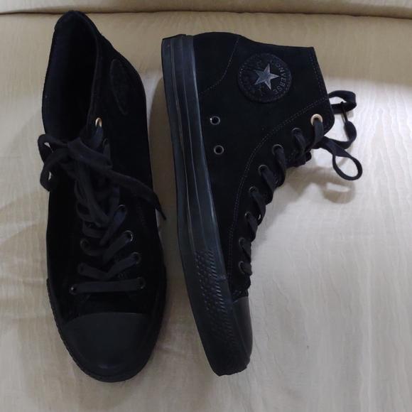 Converse Chuck Taylor black suede high tops